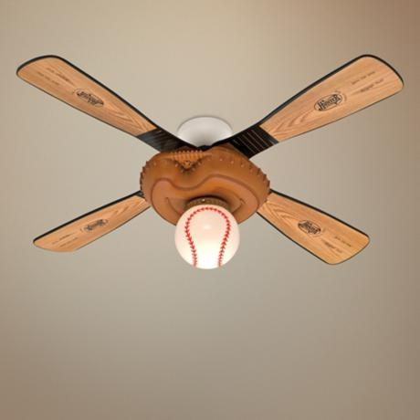 """44"""" Baseball Ceiling Fan with Light Kit- again, too much?"""