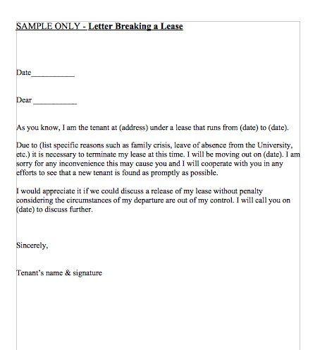Letter Breaking a Lease