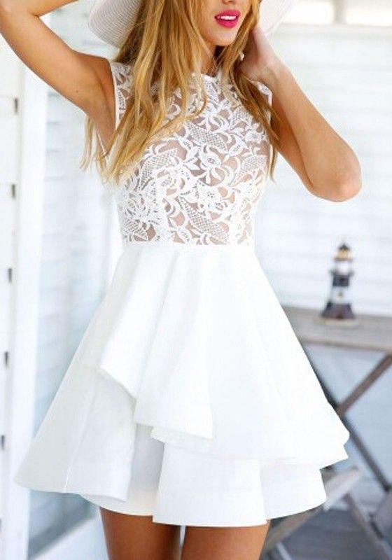 White Plain Lace Hollow-out Zipper Double-deck Mini Flax Blend Dress