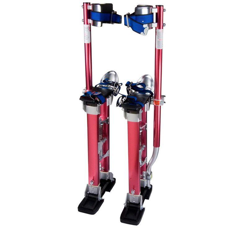 """24"""" - 40"""" Adjustable Aluminum Drywall Stilts Red"""