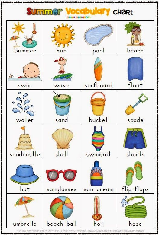 Free Summer Themed Vocabulary Cards with Record Sheets ...