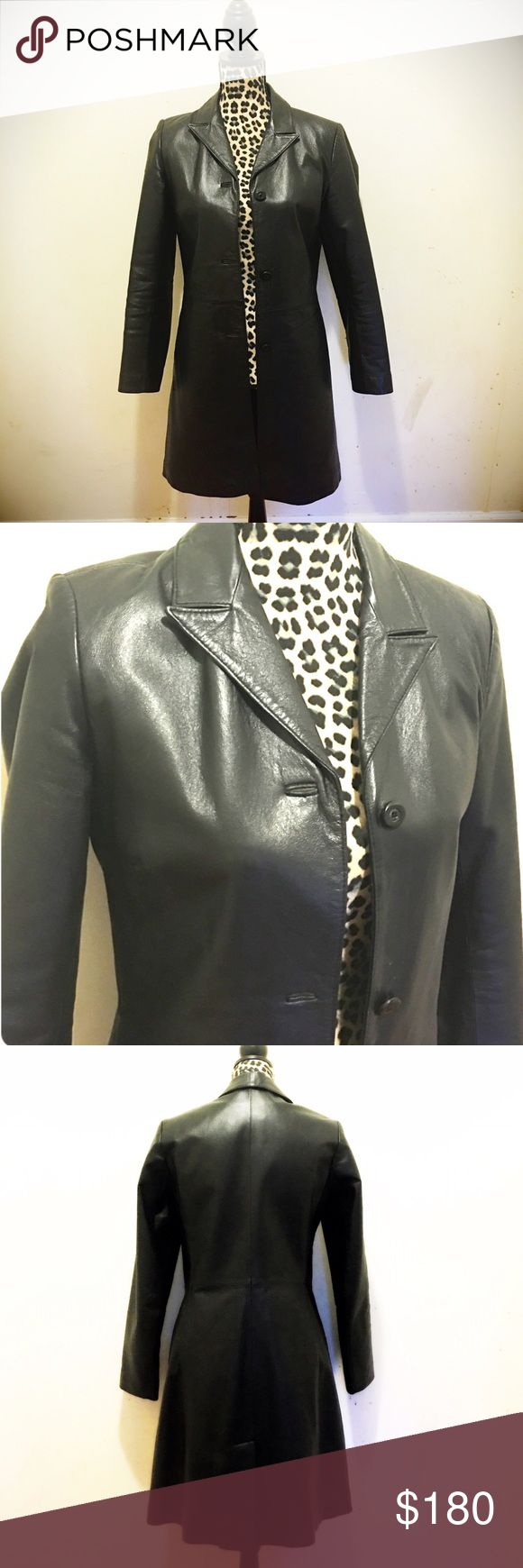 Vera Pelle real Italian leather coat. Like New! Vera Pelle real Italian leather coat. Like New! Black leather, black quilted lining, black buttons. Gorgeous collar. Size 42 (fits about a size 6/8) vera Pelle Jackets & Coats