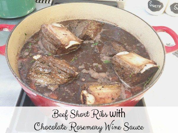 Beef Short Ribs with Chocolate Rosemary Wine Sauce