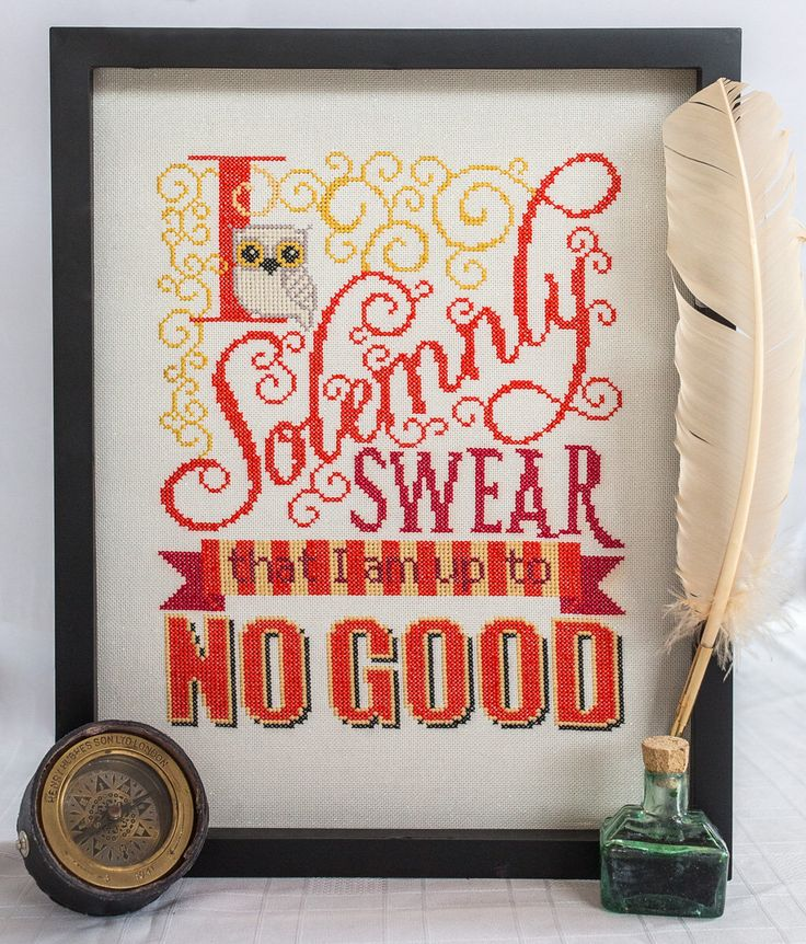 Solemnly Swear Cross Stitch Pattern - I Solemnly Swear I am up to No Good - Digital PDF Downloadable Pattern by fiddlesticksau on Etsy https://www.etsy.com/listing/233127030/solemnly-swear-cross-stitch-pattern-i