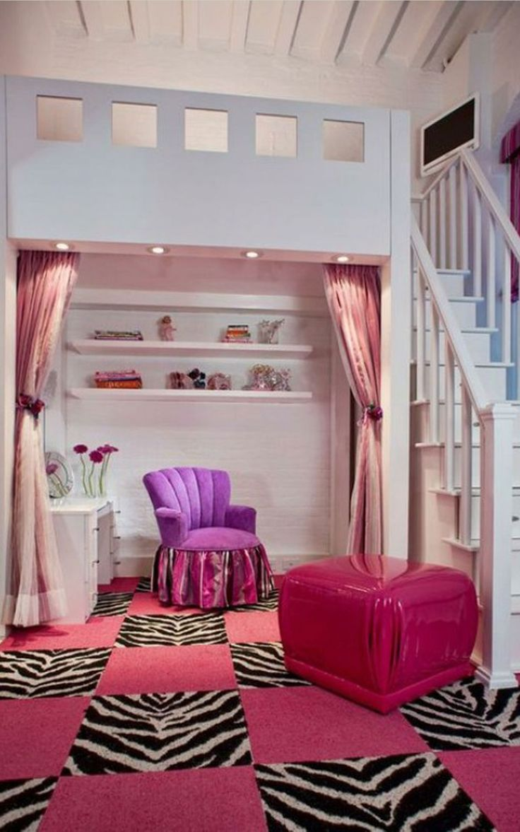 Bedroom, Terrific Teenage Room Ideas For Small Space Room With Nice Rechangular White Shelf And Enchanting Purple Sofa Complete With White Wooden Dressing Table Also Gorgeous Pink Leather Pouffe In Enticing Pink Mixed White Black Zebra Pattern Carpet Plus Comfortable Bed Areas On Second Floor Above Dressing Areas: 12 Top Choice Pretty Teenage Room Ideas In 2015