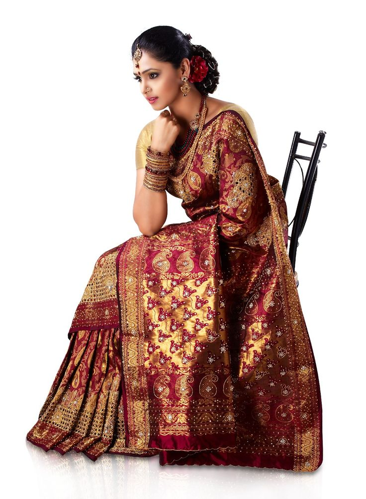 A bridal dream from South India- Maroon Brocade Pure Silk ...