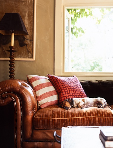 Successful Use Of Fabric Cushions On A Vintage Leather Roll Arm  Chesterfield Sofa Photo Credit: Eric Piasecki