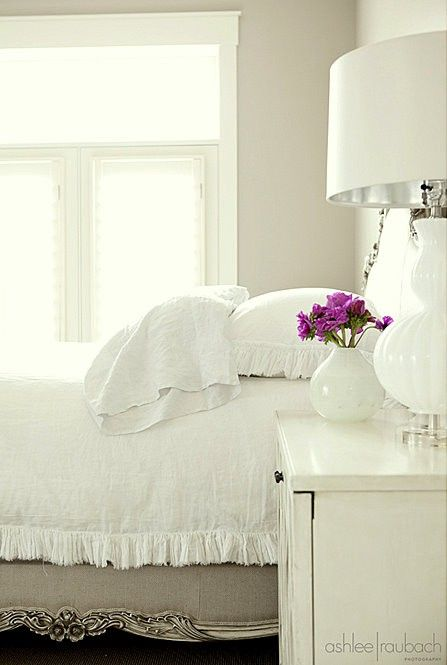 All White Bedroom With A Pop Of Color In A Vase Girly