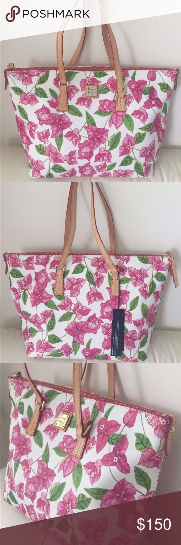 "NWT Dooney & Bourke floral shoulder bag NWT authentic Dooney & Bourke floral shoulder bag •Coated canvas with leather trim •Inside zipper and multifunction pockets •Inside key hook •Top zipper closure •Bottom 4 protective feet •Dimensions 17"" L x 11"" H x 6"" W •Handles with 9"" drop •Retail $248 **Package will come with free gifts! ~BUNDLE with my other listings for savings! Dooney & Bourke Bags Shoulder Bags"
