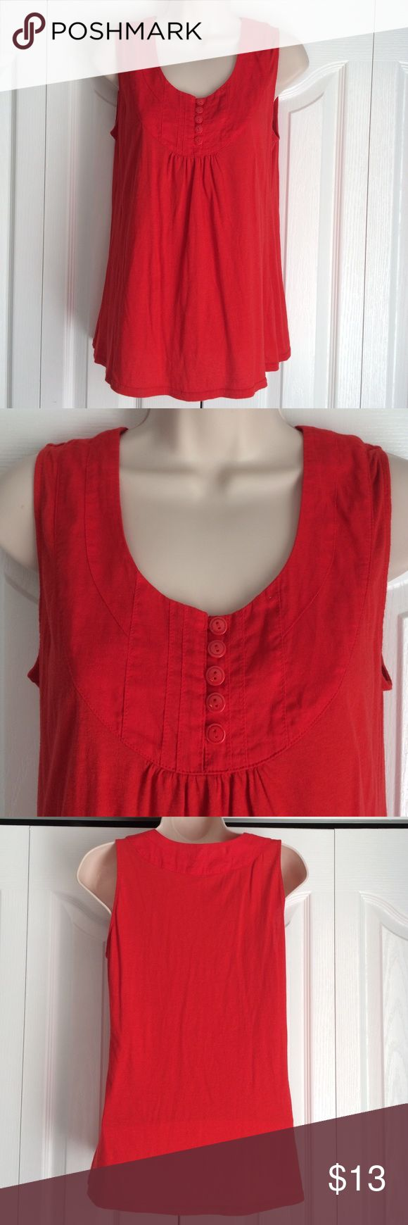 """Fossil Top Adorable """"smocked"""" tank. Buttons on smocked neckline are functional. Dark Coral/red 60% cotton 40% modal. Gently pre loved. Fossil Tops Tank Tops"""