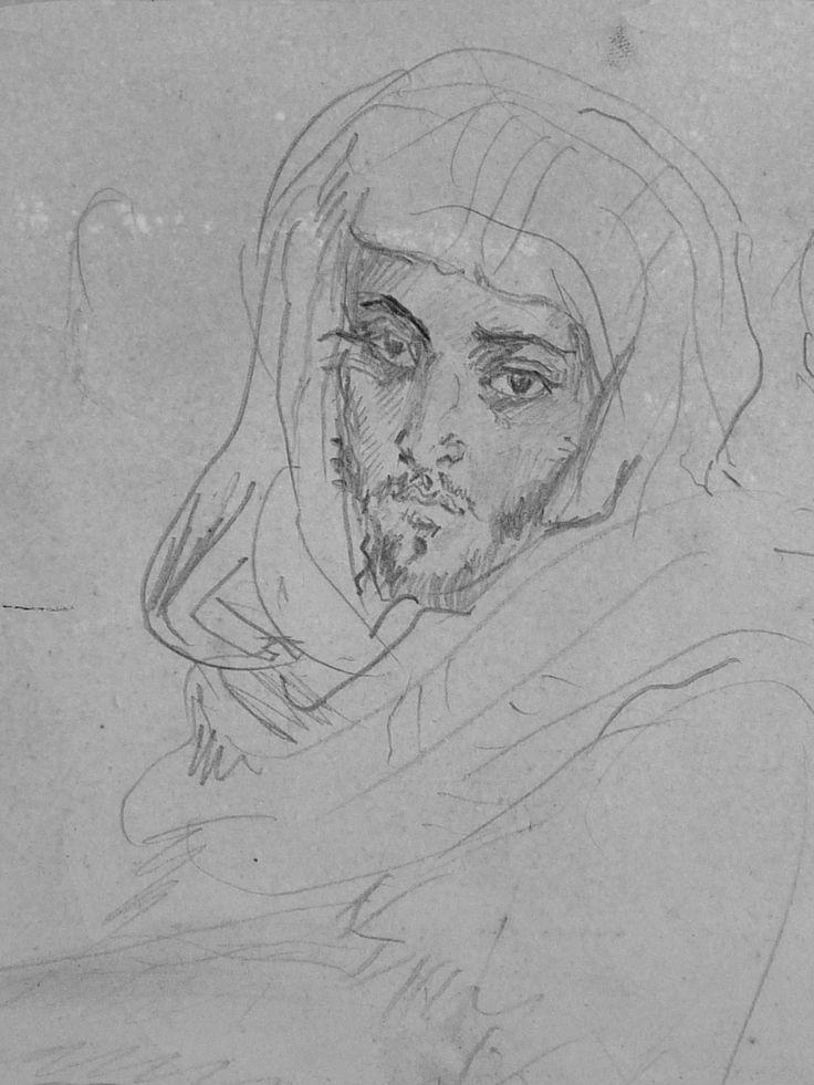 CHASSERIAU Théodore,1846 - Deux Arabes assis - drawing - Détail 22 - Dignité triste - Sad dignity -