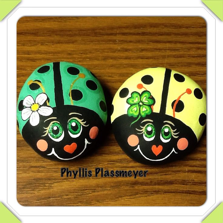 Ladybugs - Painted rocks by Phyllis Plassmeyer - 2015