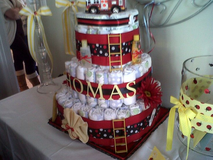 Firefighters Diaper Cake Baby Shower Ideas Pinterest