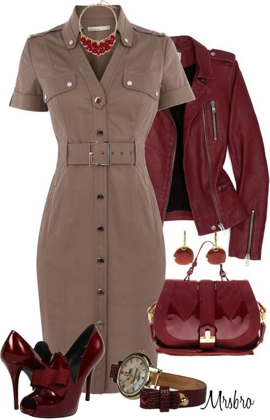 Love the red with the tan....have this dress