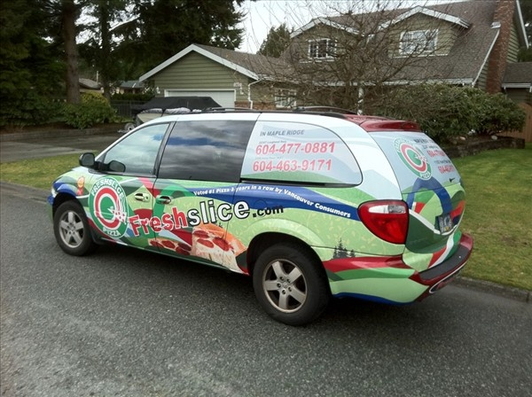 Fresh slice pizza dodge grand caravan wrap mapple ridge by vancouver vehicle wraps vehicle decals