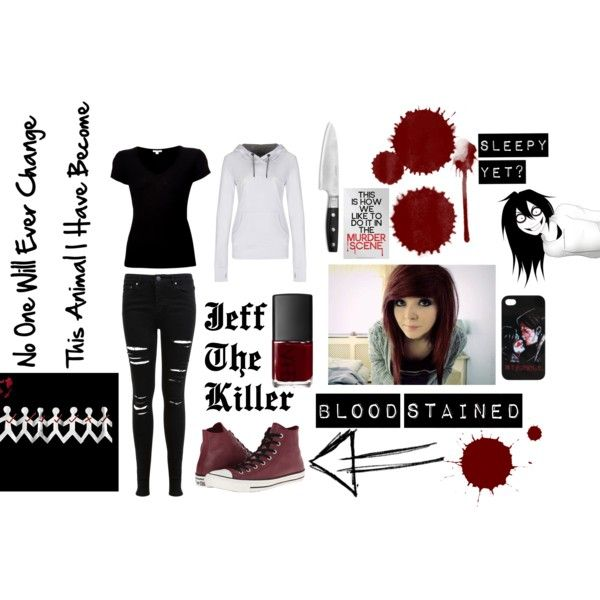 Jeff The Killer by xxkidinthedarkxx on Polyvore featuring James Perse, Bench, Miss Selfridge, Converse and NARS Cosmetics