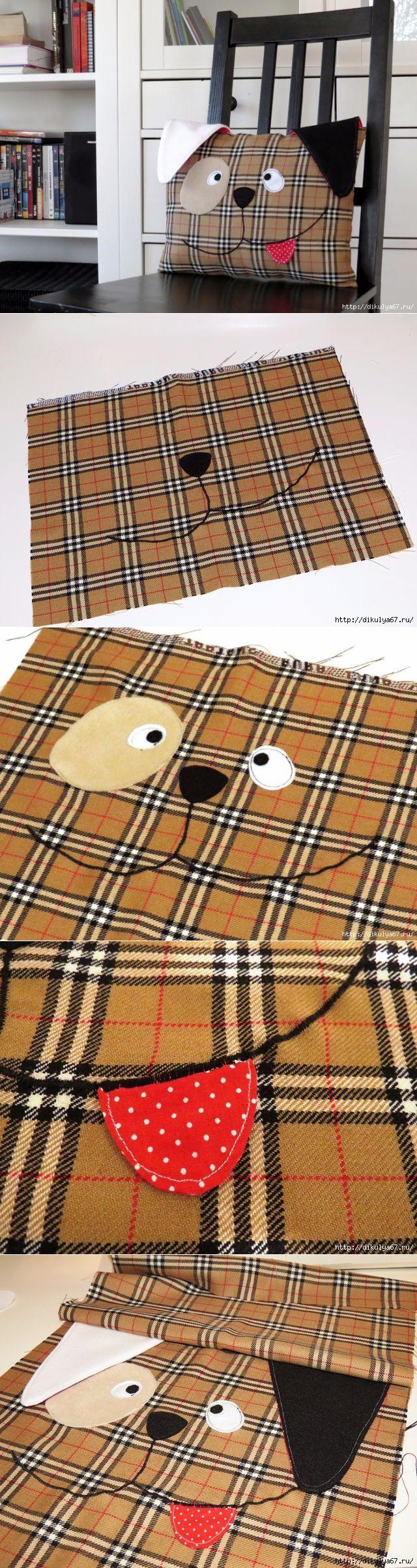 Подушка в детскую комнату. Шьем подушку-собачку