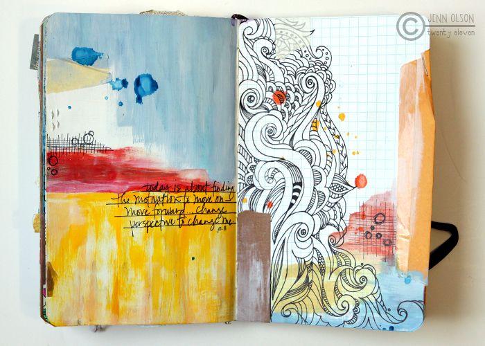 (by Jenn Olsen): Art Journals Pages, Journals Inspiration, Books Art, Open Book, Art Inspiration, Art Journals Doodles, Altered Books, Watercolor Journals, Journals Art
