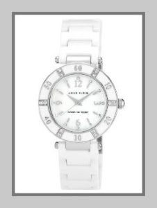 Anne Klein 109417WTWT Swarovski Crystal-Accented White Ceramic Watches For Women The swarovski crystals make this dazzling watch stand out. It is glamorous yet can be worn with anything. The silver-tone Roman numerals are at three, six, nine, and twelve o'clock.  http://theceramicchefknives.com/ceramic-watches-women/
