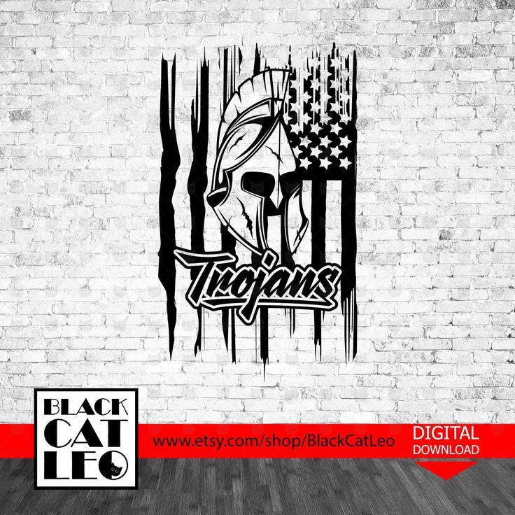 Trojans svg American flag SVG Vector t shirt design
