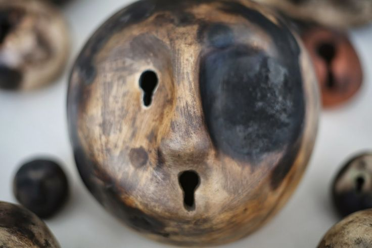 Handbuild ceramic sculpture - smoke fired