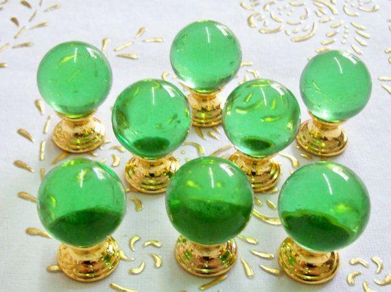 Italia cristallo trasparente verde. manopole in alta qualità.