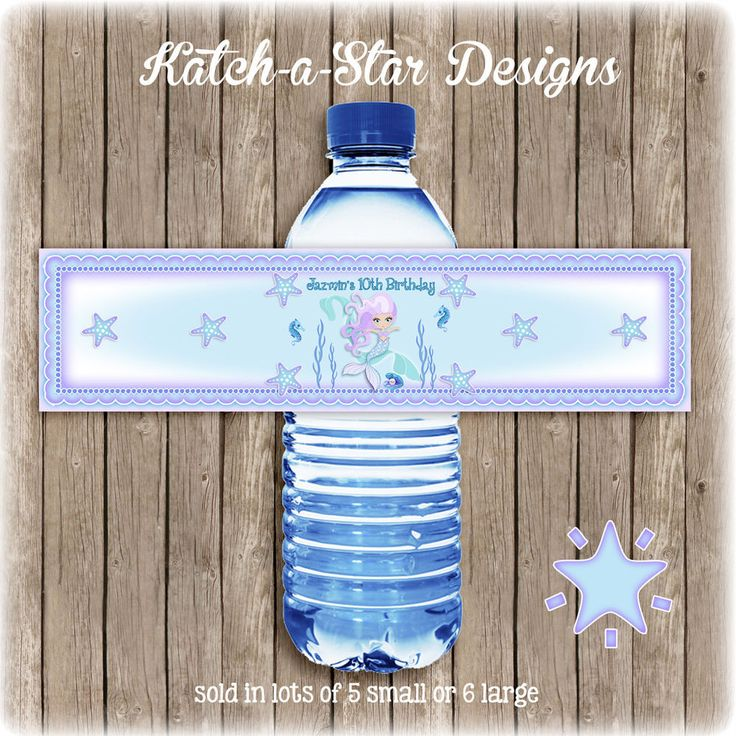 MERMAID UNDER THE SEA PARTY PEEL & STICK PERSONALISED WATER BOTTLE LABELS or cup labels?