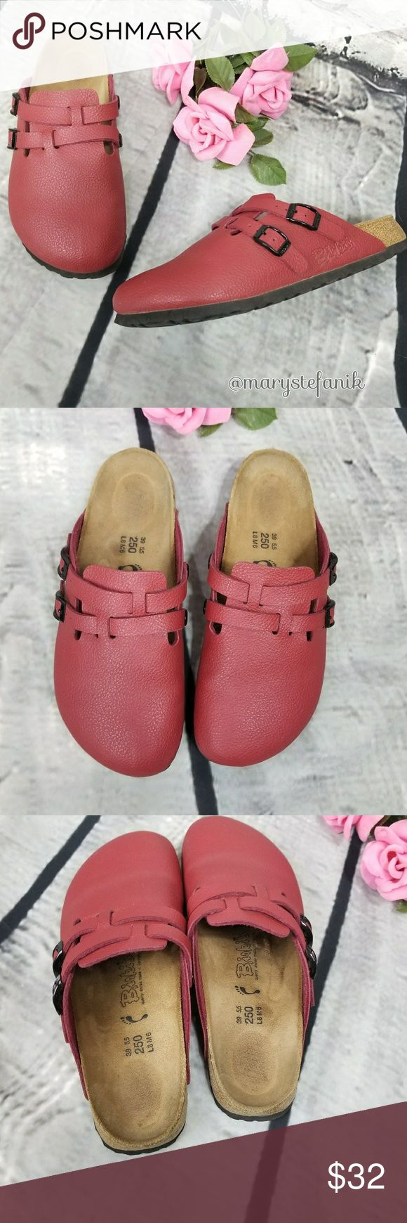 Birk's Red Mule Clog Footbed Sandals size 8 Birk's Red Mule Clog Footbed Sandals size 8 in great used condition. Minor imperfection shown in last picture. Some wear to the interior. Perfect for summer!  Please let me know if you have any questions. Happy Poshing! Birkenstock Shoes Mules & Clogs