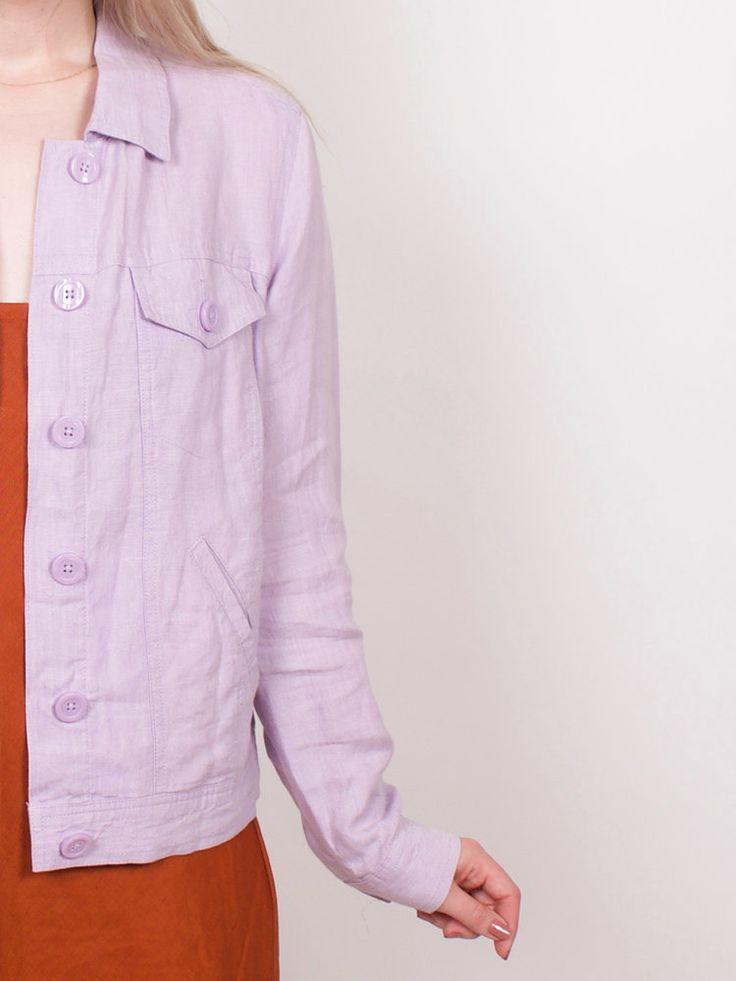 Vintage 100% Linen Lavender Jacket