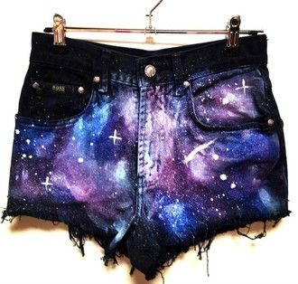 black shorts galaxy printed shorts galaxy print print summer outfits purple blue