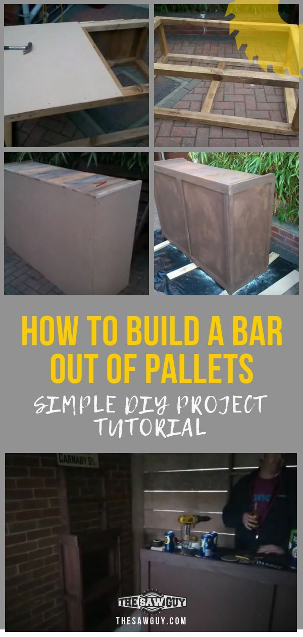 How To Build A Bar Out Of Pallets Simple Diy Project Tutorial The Saw Guy Build Your Own Bar Diy Projects Tutorials Built In Bar
