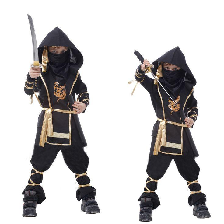 Хэллоуин костюмы детей мальчик детей убийца кунг-фу боевые искусства воин ниндзя костюм 7-частей косплей одежда для мальчиков