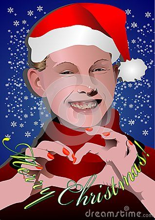 Compact vector portrait in Santa hat with snowflakes, Heart shaped hand position and Merry Christmas subtitle.