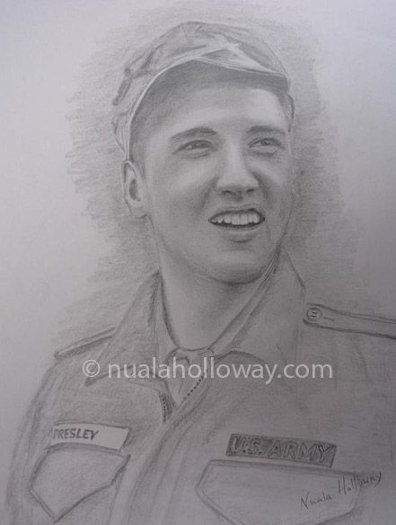 """""""Elvis in the Army (I)"""" by Nuala Holloway - Pencil on Paper (Commission)  As featured in the music biography """"Elvis and Ireland"""" by Ivor Casey -  Available to buy now on Amazon #Elvis #ElvisandIreland #IrishArtist"""