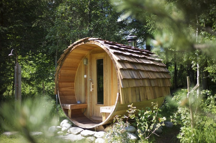 wood burning barrel sauna at chalet la foret genre