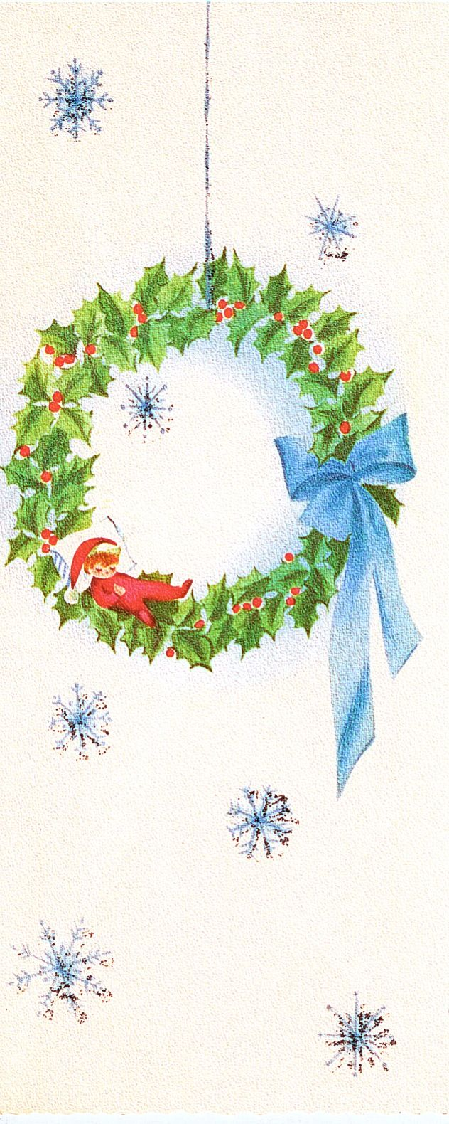 Wreath from old christmas cards - Vintage Norcross Christmas Card Wreath With Elf