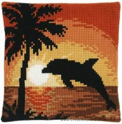 Wildlife - Dolphin Sunset Cushion Front Cross Stitch Kit by Vervaco