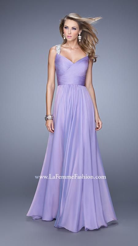 La Femme 20448 | La Femme Fashion 2015 - La Femme Prom Dresses - La Femme Cocktail Dresses -chiffon prom dress with sparkle sleeve available at Hope's Bridal