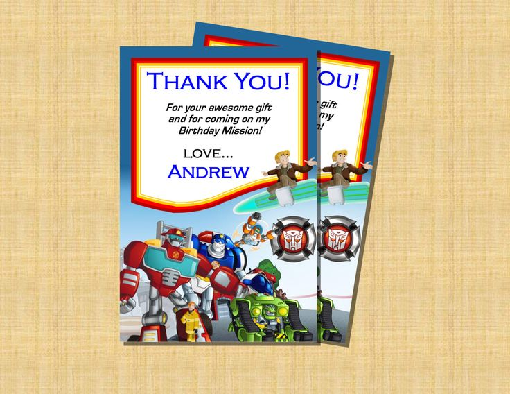 transformers rescue bots thank you card printable by