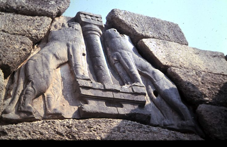The Lions over the Lion Gate at Mycenae.