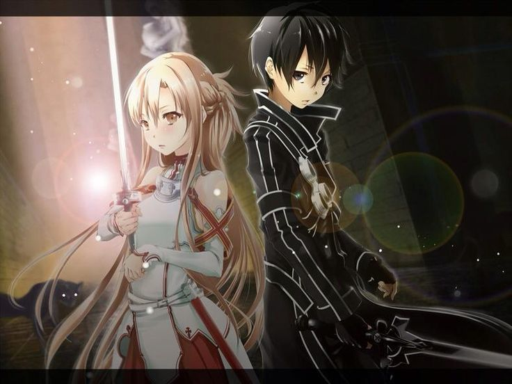 Light and dark anime couple with swords.