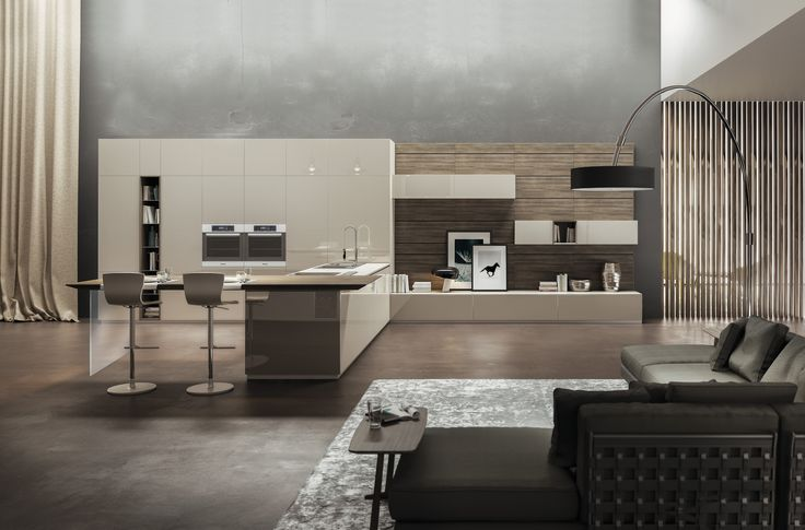 Kitchen composition in sigle-side lacquered and visione oak.