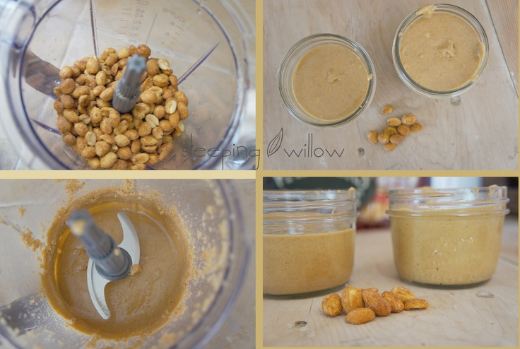 Homemade Peanut Butter  Simply put desired amount of honey roasted peanuts in a food processor and blend. First they will be chopped, then crumbs, then a paste, then it breaks down into peanut butter. Blend until desired creaminess. Also do with almonds, sunflower seeds, and mix it up with honey, cinnamon or flax seeds!: Honey Roasted Peanut