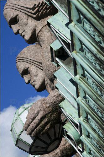 Krzysztof Dydynski - Granite giants carrying round lamps guarding main entrance…