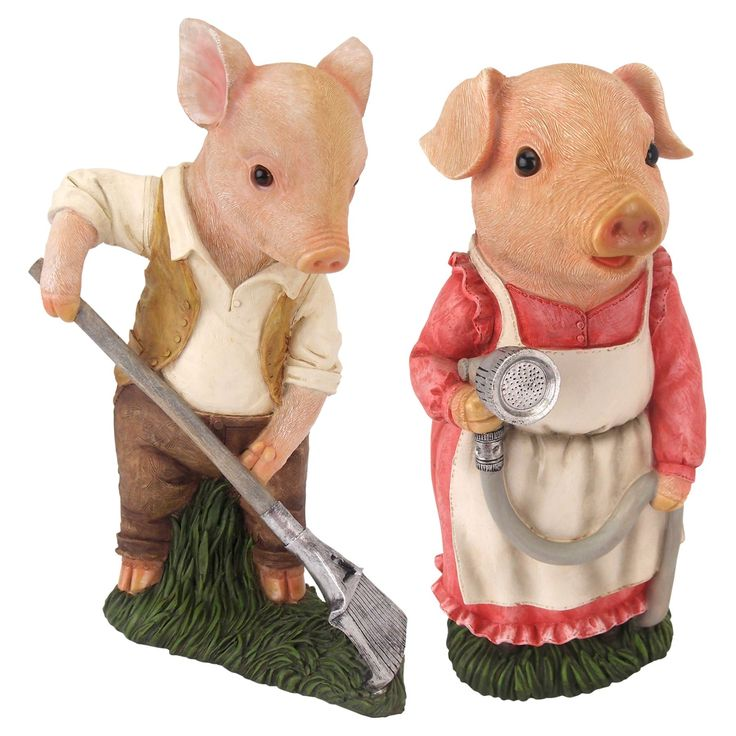 Design Toscano Mama and Papa Pig Gardener Statue - Set of 2 - QM927338