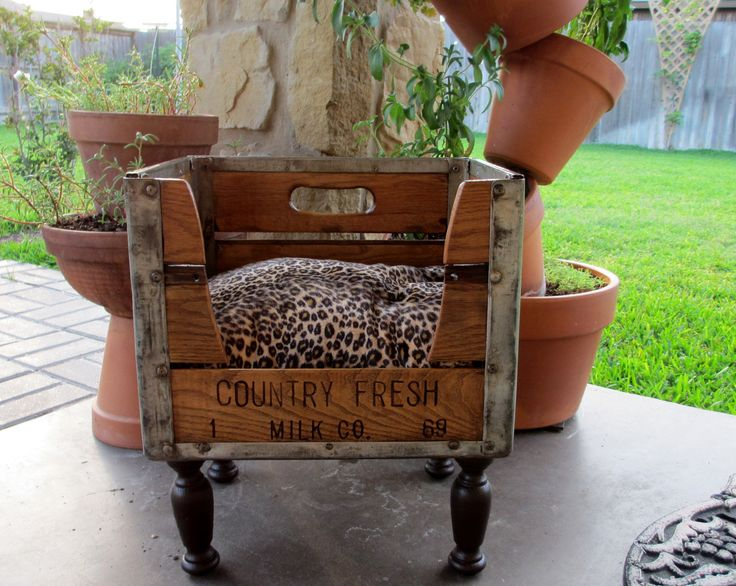 Dog Bed Cat Bed Pet Bed Wooden1969 Milk Crate Recycled Upcycled Antique. $198.00, via Etsy.