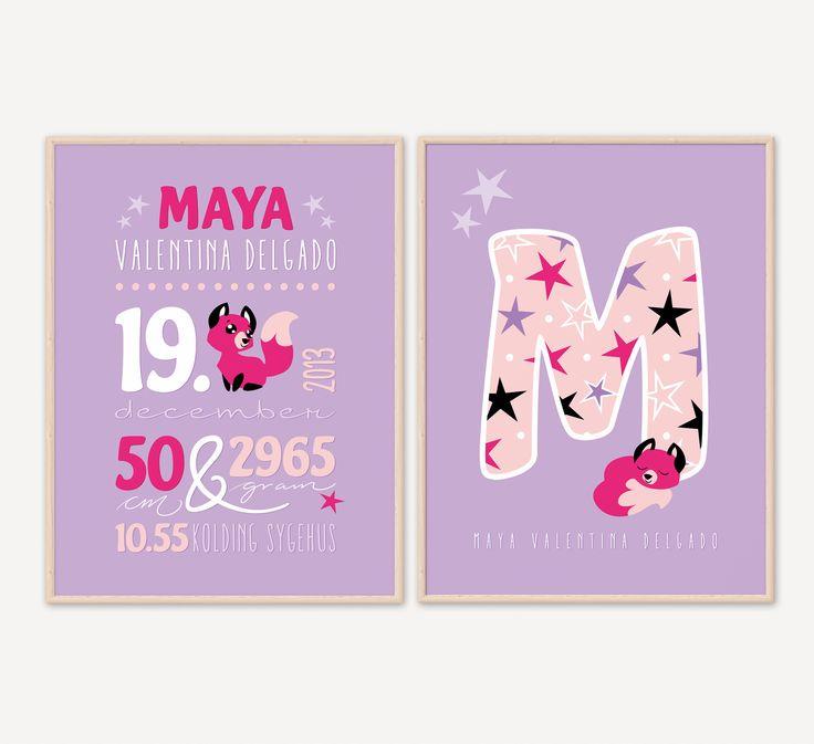 En Navnetavle plakat giver børneværelset et personligt udtryk. Sammensæt dit eget design. Med søde håndillustrerede tegninger som fx populære stjernetegn.