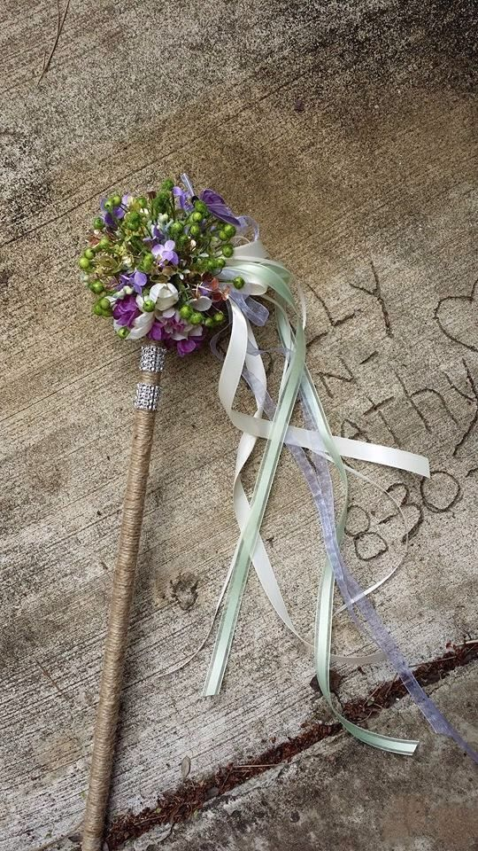 Rustic Woodland Flower Girl Wand Purple Lilac Ivory Green by KAArtisticEvents on Etsy https://www.etsy.com/listing/184479299/rustic-woodland-flower-girl-wand-purple