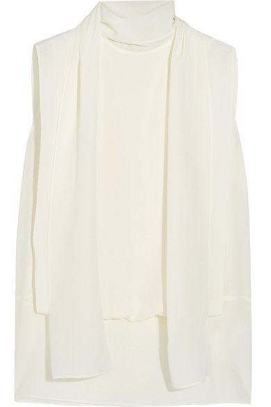 Valentino - Draped Silk Crepe De Chine Top - Ivory - IT36