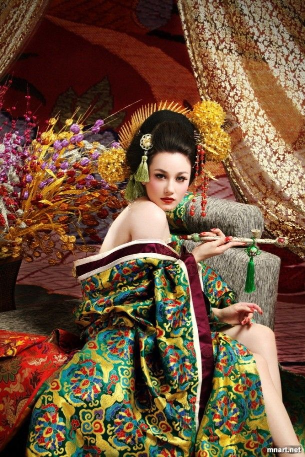 Flowers Chinese style dress